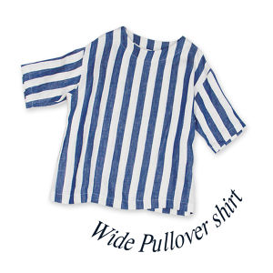 Wide Pullover shirt [Blue stripe]