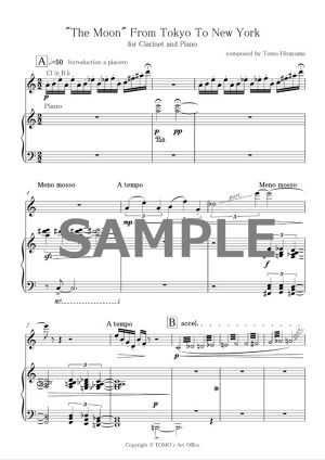 The Moon From Tokyo To New York for Clarinet and Piano -PDF SCORE