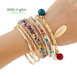 2016 women boho charms bracelet&bangles colorful bohemia arm  cuff big gold plated tribal ethnic bangle set tassel pulseiras  hot