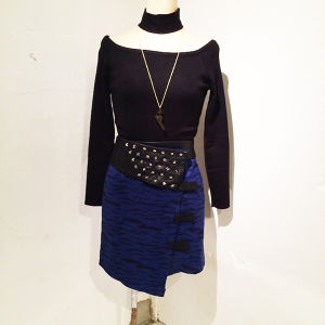 Zebra Studs Skirt / Blue