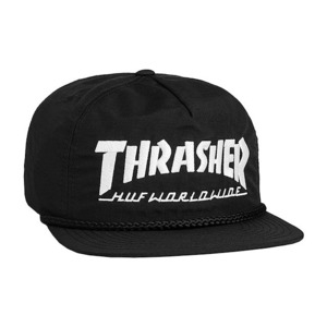HUF X THRASHER COLLAB LOGO HAT BLACK