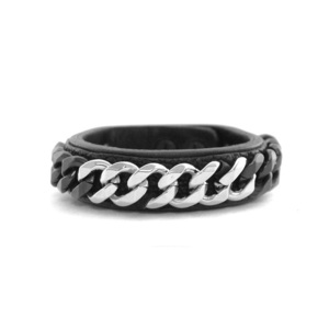 BLACK TRIANGLE DESIGN - 2TONE CHAIN&LEATHER BRACELET (SILVER) -