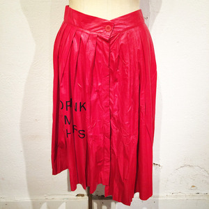 Fake Leather Pleat Skirt / Red