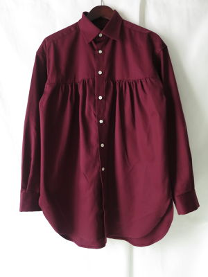 Front Gather Shirt Wine