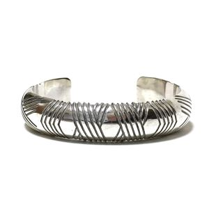 Navajo Vintage Sterling Silver Horrow Line Bangle by Bighand