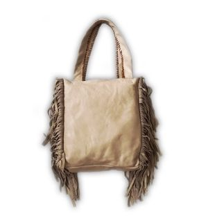 Gray Fringe Tote Bag
