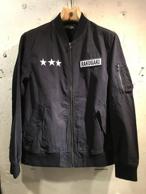 RAKUGAKI OLD ENGLISH STAR Logo MA-1 Black x White