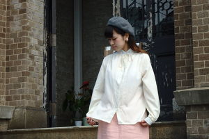 Ivory Stand Collar Blouse with Flower Enbroidery