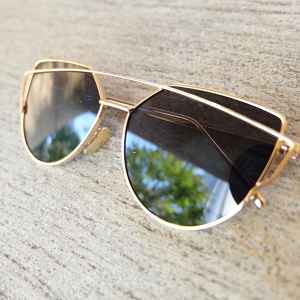 Cat Mirror Sunglasses/Gold Black