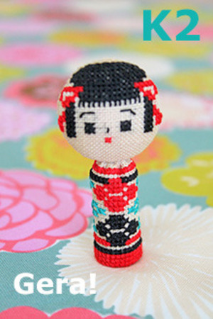 Kit No.2 Kokeshi x cross stitch 2