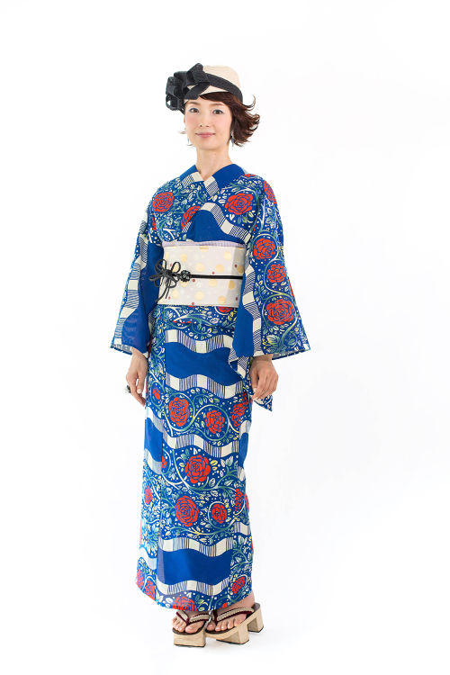 【Thank you sold out!!】注染浴衣「波縞薔薇」ブルー 仕立て上り