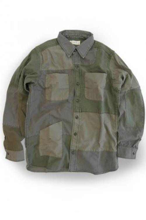 EATS Used Patchwork Shirts_ARMY