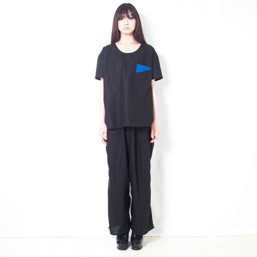 COTTON LINEN WIDE PANTS / BLACK