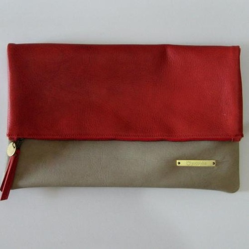 BICOLOR CLUTCH red X grege