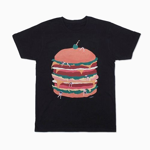 《hamburger! Tshirt_black》完全受注生産_ShiShi Yamazaki