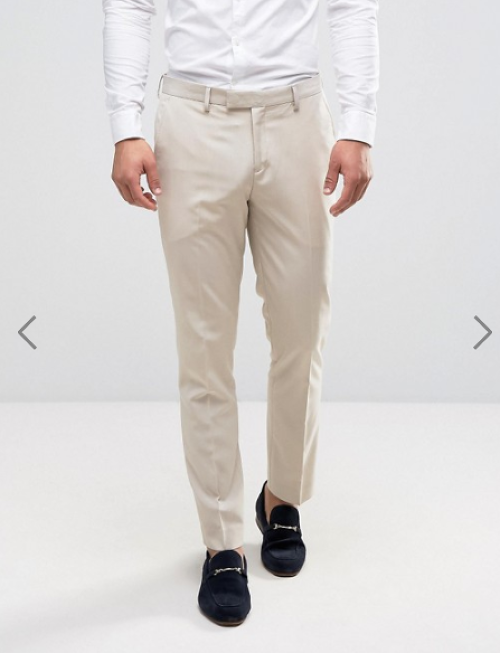 River Island Skinny Suit Trousers In Stone