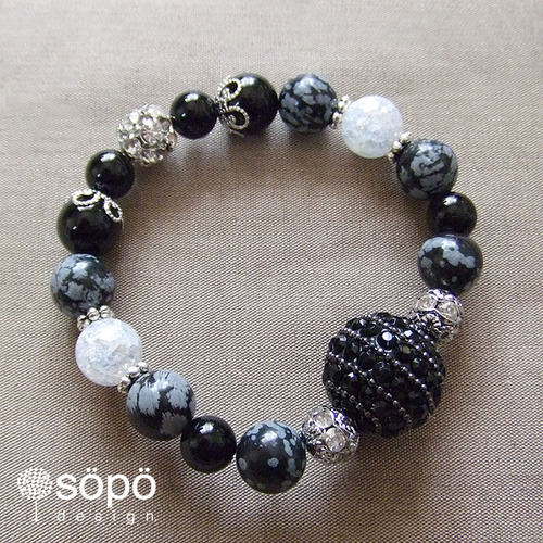 108. power stone jewelry bracelet -gray & black-
