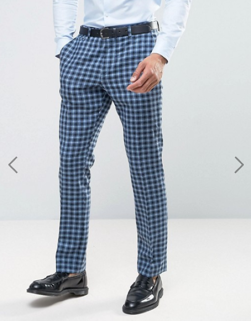 ASOS Slim Suit Trouser In 100% Wool Blue Check