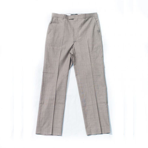 DEEP CHECK SLACKS  LIGHT BROWN