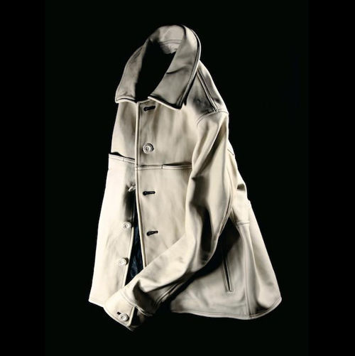DAMAGE HORSE LEATHER AGING JACKET IVORY