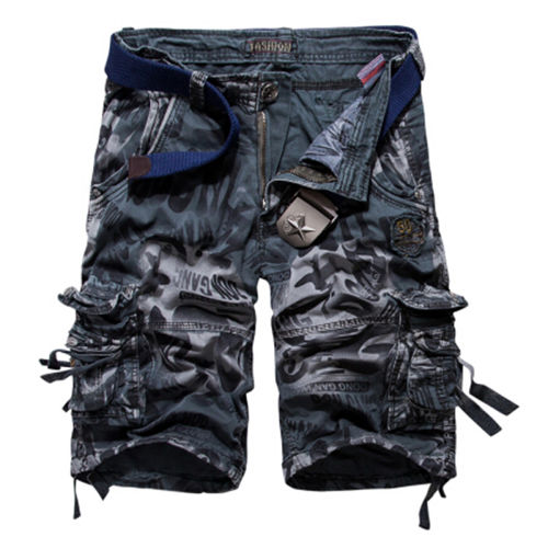 Plus Size 29-42 Summer Europe Style Men's Camouflage Shorts  Army Cargo Shorts Workout Shorts Loose Casual Trousers