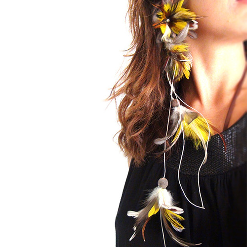 Patricia & Didi フェザーピアス : Earthy Yellow :PD002