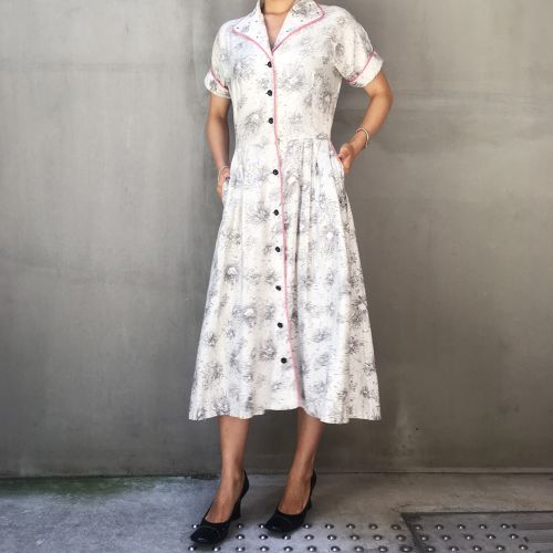 50's white and pink dress
