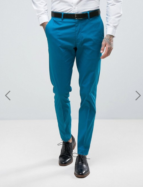 ASOS WEDDING Skinny Suit Trouser In Stretch Cotton In Peacock Blue