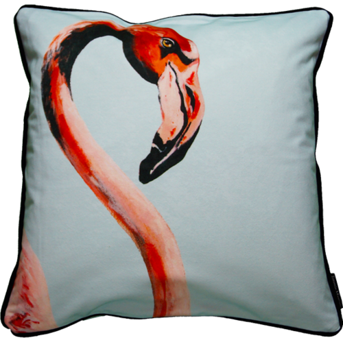 Jimmie Martin Cushions Blue single flamingo