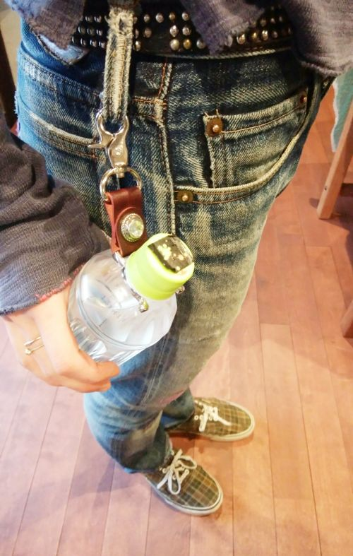 o.d leathers ビジュー付ペットボトルホルダー* Pet Bottle Holder with bijou by o.d leather