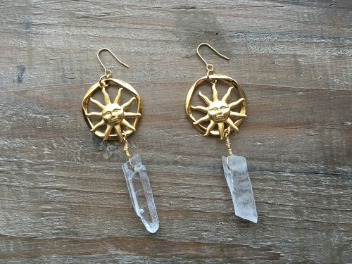 Gold circle x sun crystal earrings