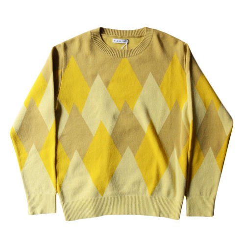 【F-LAGSTUF-F】P/O ARGYLE KNIT YELLOW