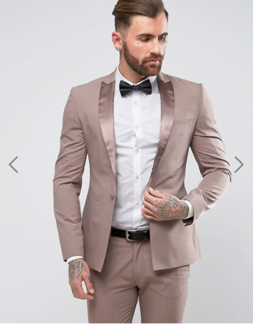 ASOS Skinny Tuxedo Suit Jacket in Putty with Tonal Satin Lapel