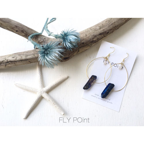 -crystal hoop pierce<blue>-