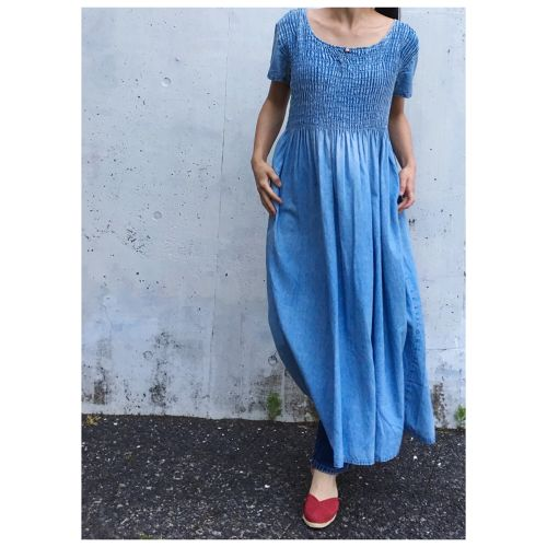 Denim Shirring maxi dress