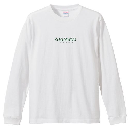 YOGNWVS 刺繍 LONGTEE (DarkGreen on White)