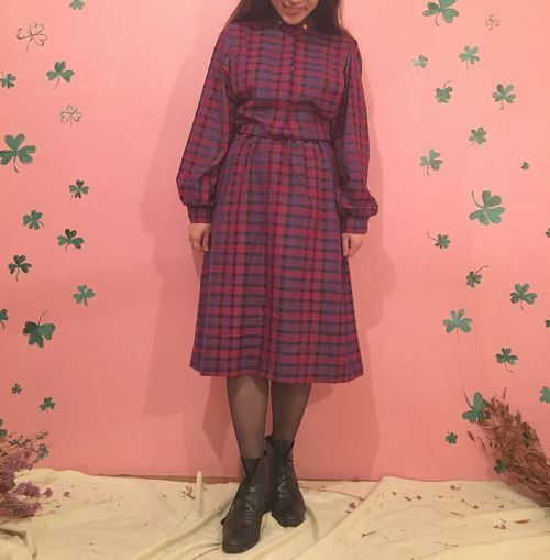 Pink Check Wool Dress