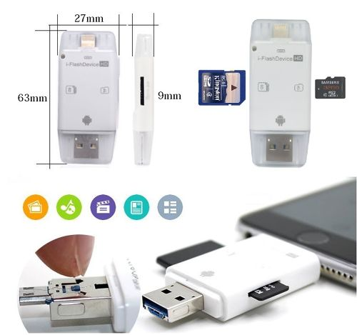 Flash Drive 外付けメモリーiPhone/Android//Lightning/micro USB/USB2.0 to Micro SD/TF/SD カードリーダー For iOS/Android/PC対応