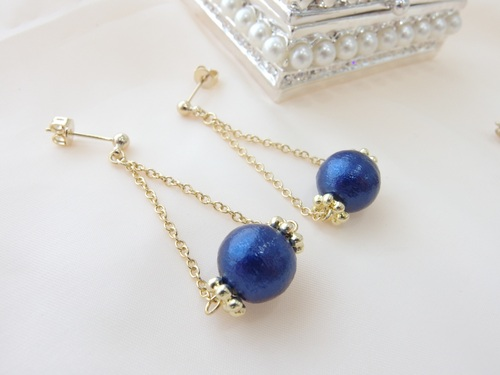 blue pearl×gold chain ピアス