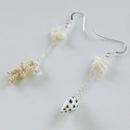 shell&coral silver earing