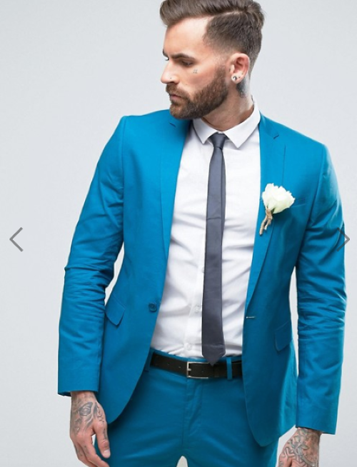ASOS WEDDING Skinny Suit Jacket In Stretch Cotton In Peacock Blue