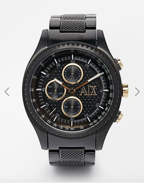 Armani Exchange Chronograph Black Stainless Steel Watch AX1604