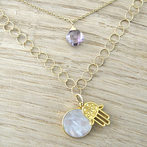 Double Necklace(Pink Amethyst & Hamusa) 2連ネックレス(ピンクアメシスト & ハムサ)