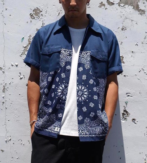 """""""PAISLEY WORK SHIRT S/S"""" NVY×NVY/NVY size:M"""