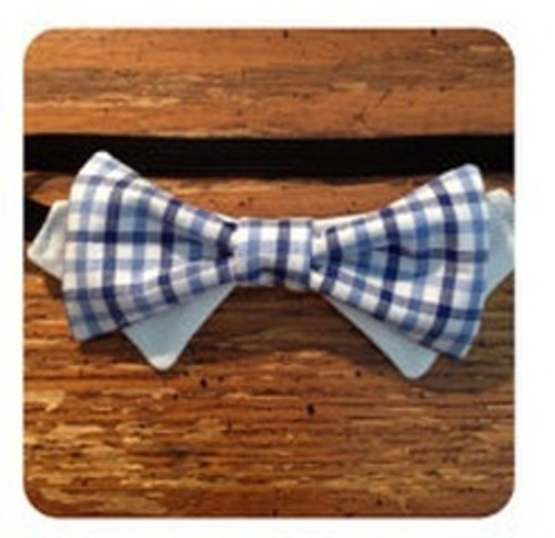Bow Tie Cat Collar by CariotsAfire (Dual Blue Check)