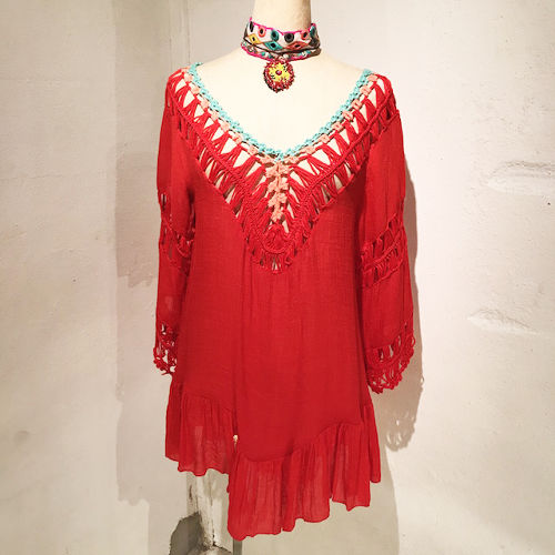 Clochet Cotton Tunic / Red