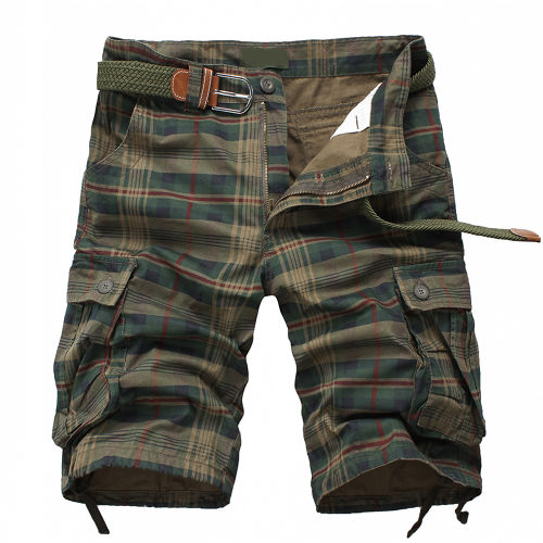 New Arrival 2016 Fashion Plaid Beach Shorts Mens Casual Camo  Camouflage Shorts Military Short Pants Male Cargo Overalls