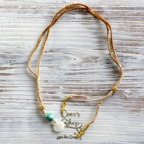 Braided Choker -Shell&Turquoise-