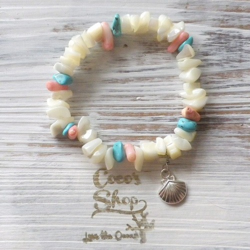 Power Stone Bracelet -Shell&Coral&Turquoise-Ⅰ