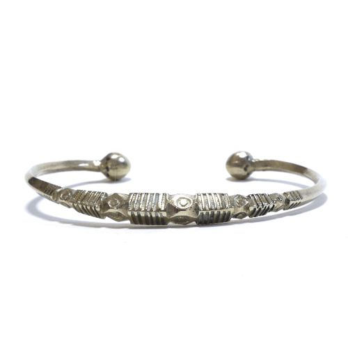 Vintage African Tuareg Silver Triangle Wire Bangle